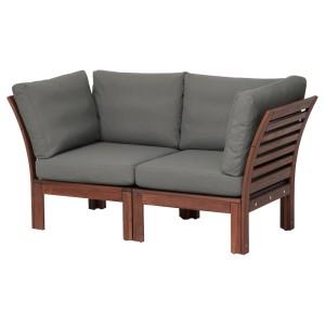 ЭПЛАРО 2-местный модульный диван, садовый, коричневая морилка, ФРЁСЁН/ДУВХОЛЬМЕН темно-серый