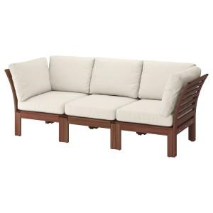 ЭПЛАРО 3-местный модульный диван, садовый, коричневая морилка, ФРЁСЁН/ДУВХОЛЬМЕН бежевый