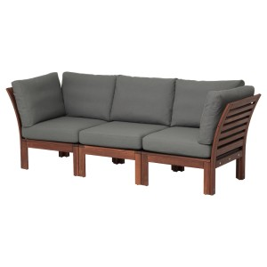 ЭПЛАРО 3-местный модульный диван, садовый, коричневая морилка, ФРЁСЁН/ДУВХОЛЬМЕН темно-серый