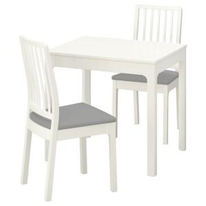 ЭКЕДАЛЕН / ЭКЕДАЛЕН Стол и 2 стула, белый, Рамна Оррста светло-серый