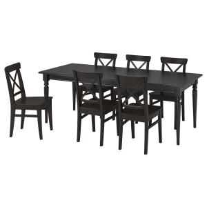 ИНГАТОРП / ИНГОЛЬФ Стол и 6 стульев, черный, коричнево-чёрный