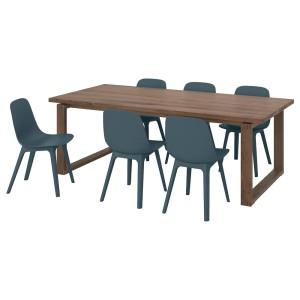 МОРБИЛОНГА / ОДГЕР Стол и 6 стульев, дубовый шпон, синий
