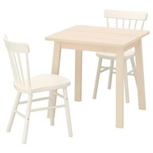 НОРРОКЕР / НОРРАРИД Стол и 2 стула, береза, белый