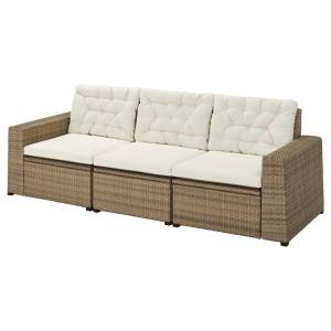 СОЛЛЕРОН 3-местный модульный диван, садовый, коричневый, Куддарна бежевый