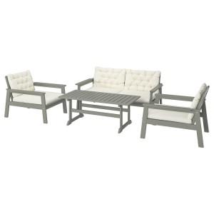 БОНДХОЛЬМЕН 4-местный комплект садовой мебели, серый морилка, Куддарна бежевый