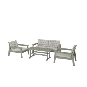 БОНДХОЛЬМЕН 4-местный комплект садовой мебели, серый морилка, Куддарна серый