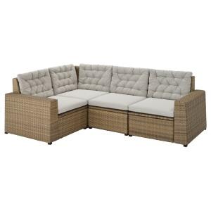 СОЛЛЕРОН Модульный угл 3-мест диван, садовый, коричневый, Куддарна серый