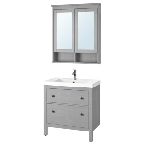 ХЕМНЭС / ОДЕНСВИК Комплект мебели для ванной,4 предм., серый, ВОКСНАН смеситель