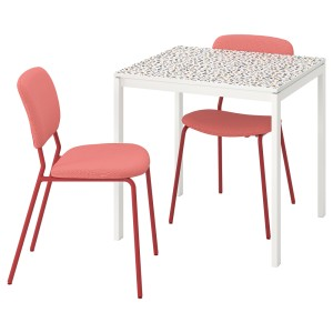 МЕЛЬТОРП / КАРЛ-ЯН Стол и 2 стула, мозаичный орнамент белый, Кабуса красный