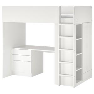 СМОСТАД Кровать-чердак, белый с рамой, с письменным столом с 4 ящиками