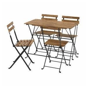 ТЭРНО Стол+4 стула, д/сада, черный, светло-коричневая морилка