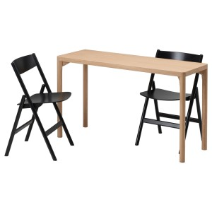 РОВАРОР / РОВАРОР Стол и 2 складных стула, дубовый шпон, черный