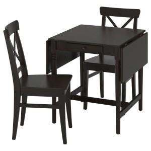 ИНГАТОРП / ИНГОЛЬФ Стол и 2 стула, черно-коричневый, коричнево-чёрный