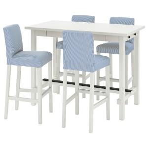НОРДВИКЕН / БЕРГМУНД Барн стол+4 барн стула, белый, Роммеле темно-синий/белый