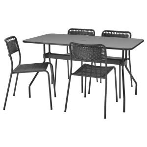 ВИХОЛЬМЕН / ВИХОЛЬМЕН Стол+4 стула, д/сада, темно-серый, темно-серый