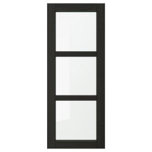 ЛЕРХЮТТАН Стеклянная дверь, черная морилка