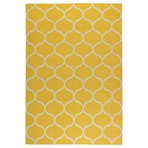 СТОКГОЛЬМ Ковер безворсовый, ручная работа, сетчатый орнамент желтый