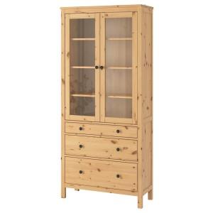 ХЕМНЭС Шкаф-витрина с 3 ящиками