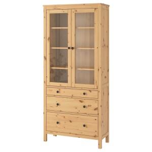 ХЕМНЭС Шкаф-витрина с 3 ящиками, светло-коричневый