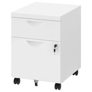 ЭРИК Тумба на колесиках с 2 ящиками, белый