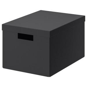 ТЬЕНА Коробка с крышкой, черный