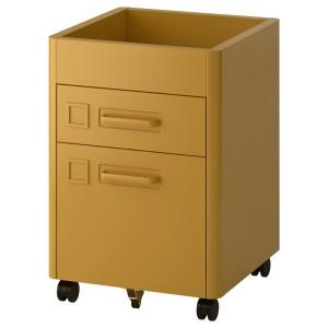ИДОСЕН Тумба с ящиками на колесах, золотисто-коричневый