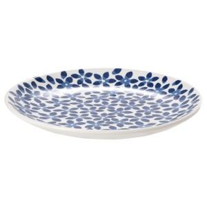 МЕДЛЕМ Тарелка десертная, белый/синий, с рисунком
