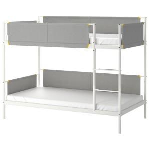 ВИТВАЛ Каркас 2-ярусной кровати, белый, светло-серый