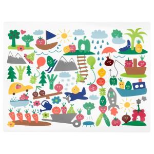 МЭТВРО Салфетка под приборы, орнамент «фрукты/овощи», разноцветный