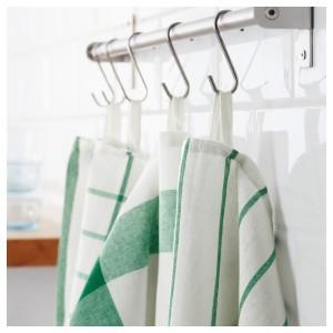 ЭЛЛИ Полотенце кухонное, белый, зеленый, 4шт