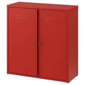 ИВАР Шкаф с дверями, красный