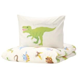 ЙЭТТЕЛИК Пододеяльник и наволочка, динозавры, белый