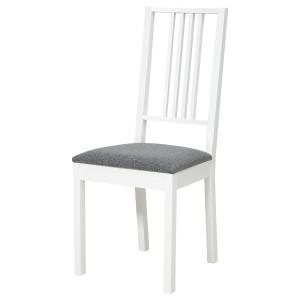 БЁРЬЕ Стул, белый, Гуннаред классический серый