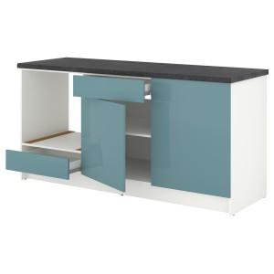 КНОКСХУЛЬТ Напольный шкаф с дверцами и ящиком, глянцевый, синяя бирюза