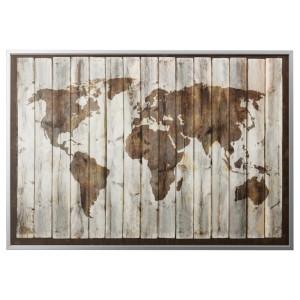 БЬЁРКСТА Картина с рамой, карта мира, цвет алюминия