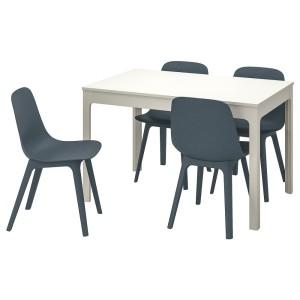 ЭКЕДАЛЕН / ОДГЕР Стол и 4 стула, белый, синий