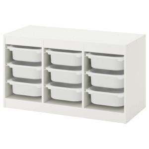 ТРУФАСТ Комбинация д/хранения+контейнеры, белый, белый