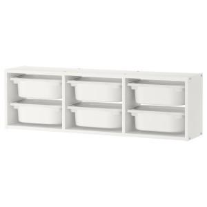 ТРУФАСТ Настенный модуль для хранения, белый, белый