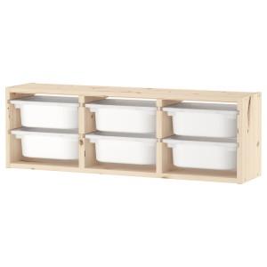 ТРУФАСТ Настенный модуль для хранения, светлая беленая сосна, белый