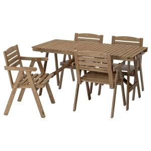 ФАЛЬХОЛЬМЕН Стол+4 кресла, д/сада, серо-коричневый светло-коричневая морилка