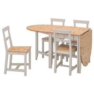 ГЭМЛЕБИ Стол и 4 стула, светлая морилка антик, серый