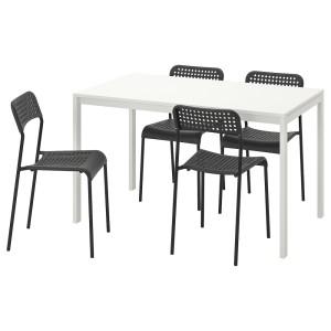 МЕЛЬТОРП / АДДЕ Стол и 4 стула, белый, черный