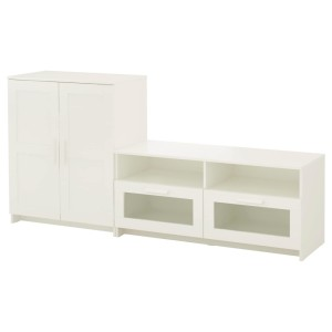 БРИМНЭС Шкаф для ТВ, комбинация, белый