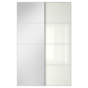 АУЛИ / ФЭРВИК Пара раздвижных дверей, зеркальное стекло, белое стекло