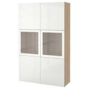 БЕСТО Комбинация д/хранения+стекл дверц, под беленый дуб, Сельсвикен глянцевый/белый матовое стекло