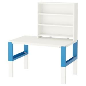 ПОЛЬ Письменн стол с полками, белый, синий