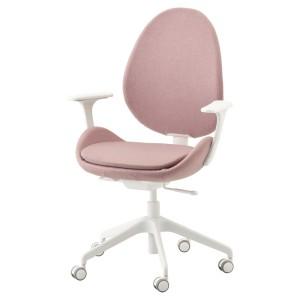 ХАТТЕФЬЕЛЛЬ Рабочий стул с подлокотниками, Гуннаред светлый коричнево-розовый, белый