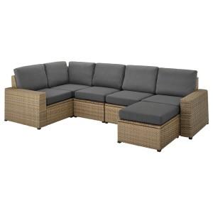СОЛЛЕРОН Модульный угл 4-мест диван, садовый, коричневый с табуретом для ног коричневый, ФРЁСЁН/ДУВХОЛЬМЕН темно-серый