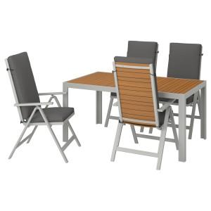 ШЭЛЛАНД Стол+4 кресла, д/сада, светло-коричневый, ФРЁСЁН/ДУВХОЛЬМЕН темно-серый