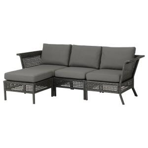 КУНГСХОЛЬМЕН 3-местный модульный диван, садовый, черно-коричневый, ФРЁСЁН/ДУВХОЛЬМЕН темно-серый